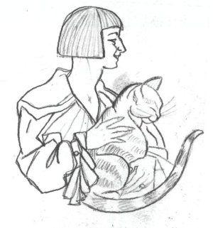 Maria Pawlikowska-Jasnorzewska -Lilka z kotem, rys. Lilki z ok. 1920