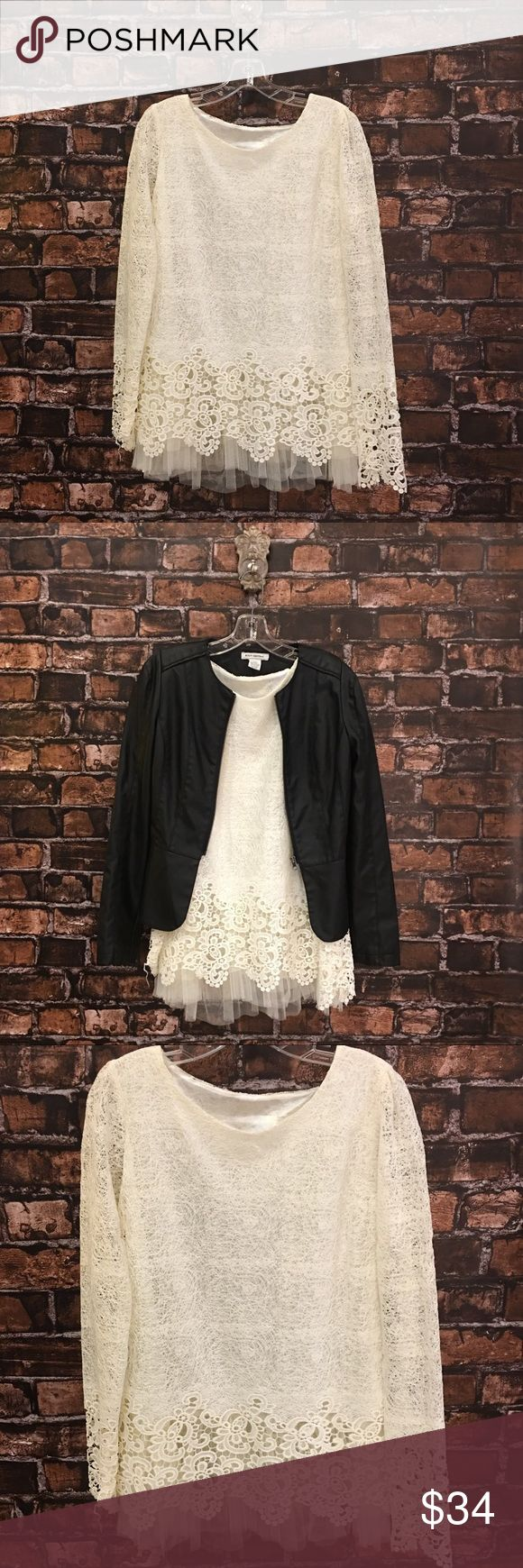 Women XL Fu Phi Liyan off white lace/tulle Blouse LOVE LOVE LOVE!! This top is the perfect amount of cute and sassy!! Off White lace and tulle. Long sleeve. Round neck! The detail is breath taking! Definitely a MUST HAVE!! We paired this fun adorable top with a leather jacket!! This makes a perfect blend of cute and sweet and edgy!! Get this look from our closet!! **ONE pull in the blouse! It is pictured but very hard to see! See last picture!! (WT301) 😍✨ Tops Blouses
