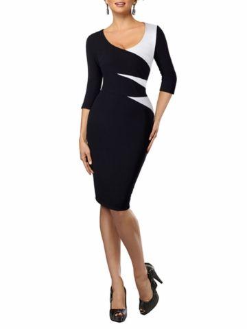 kup damskie sukienka styl ol z okrągłym dekoltem w Bloki kolorow rękaw 3/4 rękaw sukienka Midi & Sukienki - w Jollychic