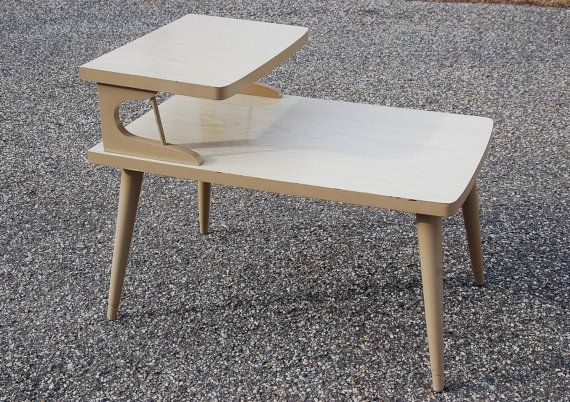 Mid Century Formica Two Tier Table Danish Modern Blonde