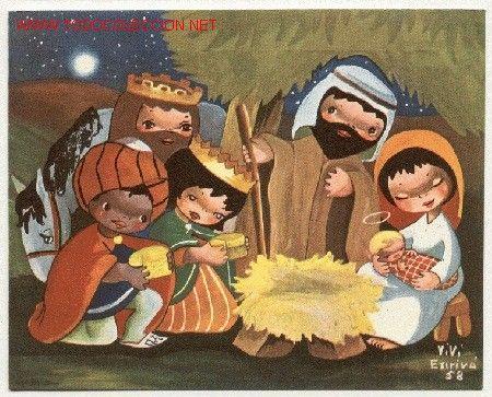 Magnifica postal doble de navidad: divertida alegoria navideña, los Reyes Magos con el Niño Jesus - Foto 1