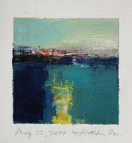 Aug. 22, 2014 - Original Abstract Oil Painting - 9x9 painting (9 x 9 cm - app. 4 x 4 inch) with 8 x 10 inch mat