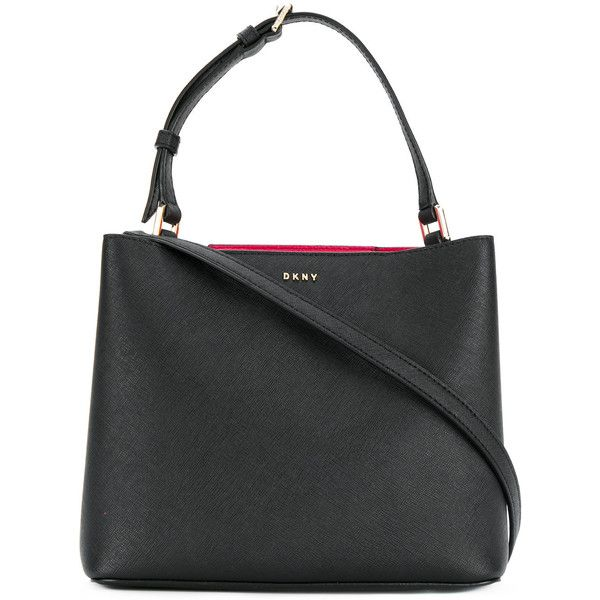 DKNY classic bucket tote ($270) ❤ liked on Polyvore featuring bags, handbags, tote bags, black, bucket tote, genuine leather tote, leather tote bags, handbag tote and leather bucket purse