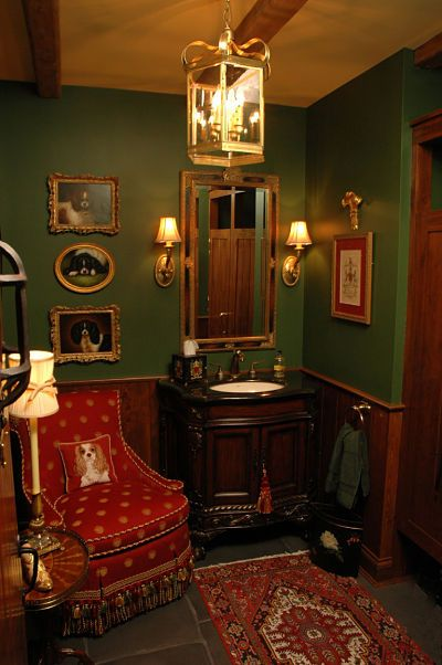 English manor-inspired ladies washroom by Neal's Design Remodel.