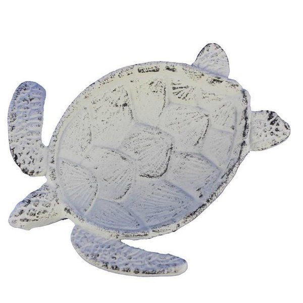 This beach themed cast iron Sea Turtle Decorative Bowl is perfect for any beach inspired home. This decorative turtle cast iron bowl adds style and is a great centerpiece for dining and entertaining. This decorative turtle bowl can be a great gift for any turtle enthusiast in your life. Functional and decorative turtle bowl - use for keys, coins or other small items. This is for decor purposes only and it not to be used for food.