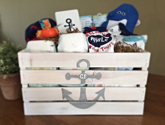 """USE CODE: """"PINFRIEND"""" FOR 10%OFF ..Handpainted Baby Shower Gift by PiaMarieCreations on Etsy Beach. Anchor. Crate. Gift. Home organization. Closet. Baby. Baby shower. Baby gift. Nursery. Nursery decor. Diaper. Diaper caddy. Nautical. Nautical nursery. Anchor. Sailboat."""