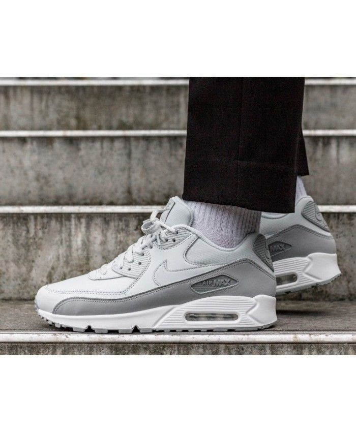 reputable site 86c0d ae050 Nike Air Max 90 Essential Homme Chaussures Gris Blanc