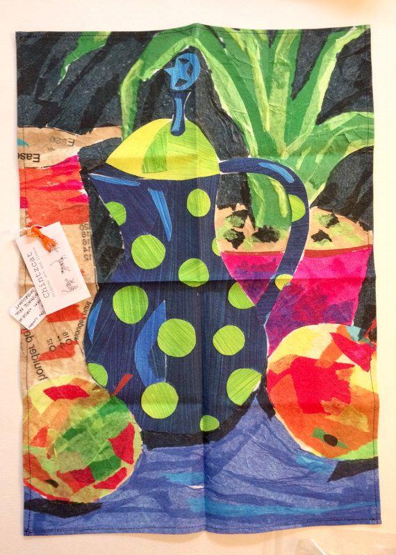 Cotton-linen tea towel original colourful still life by chintzcat