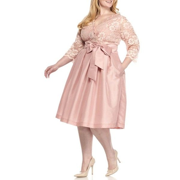 Jessica Howard Blush Plus Size Lace Top Three-Quarter Sleeve Dress -... ($102) ❤ liked on Polyvore featuring plus size women's fashion, plus size clothing, plus size dresses, blush, v neck cocktail dress, pink lace dress, holiday cocktail dresses, pink cocktail dress and plus size holiday dresses