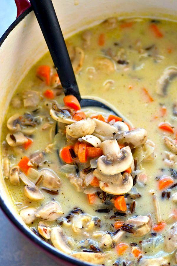 Incredibly Creamy And Cozy Chicken Mushroom Wild Rice Soup Comes