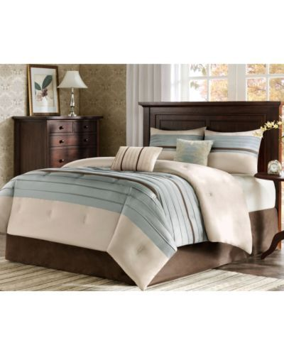 Blue Beige Brown Pintuck California King Comforter Set 6