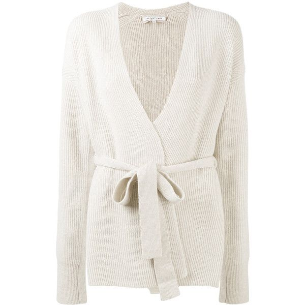 Helmut Lang belted ribbed cardigan (670 CAD) ❤ liked on Polyvore featuring tops, cardigans, cardigan top, belted top, white top, rib top and white ribbed top