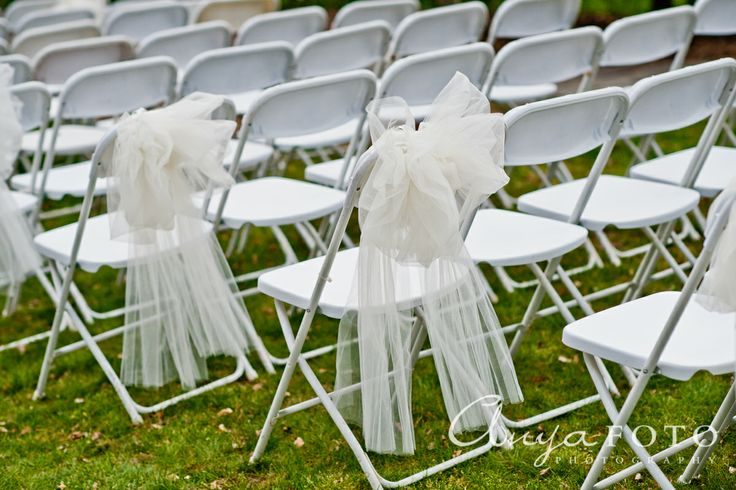 Wedding Ceremony Decor anyafoto.com #wedding, outdoor wedding, outdoor wedding ideas, wedding ceremony decor ideas, bows on pews, white folding chairs