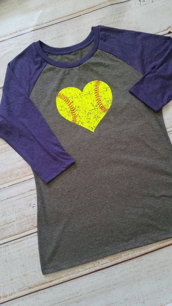Softball love: softball shirt, distressed softball in neon yellow, softball mom, softball player, softball life, 3/4 raglan sleeve