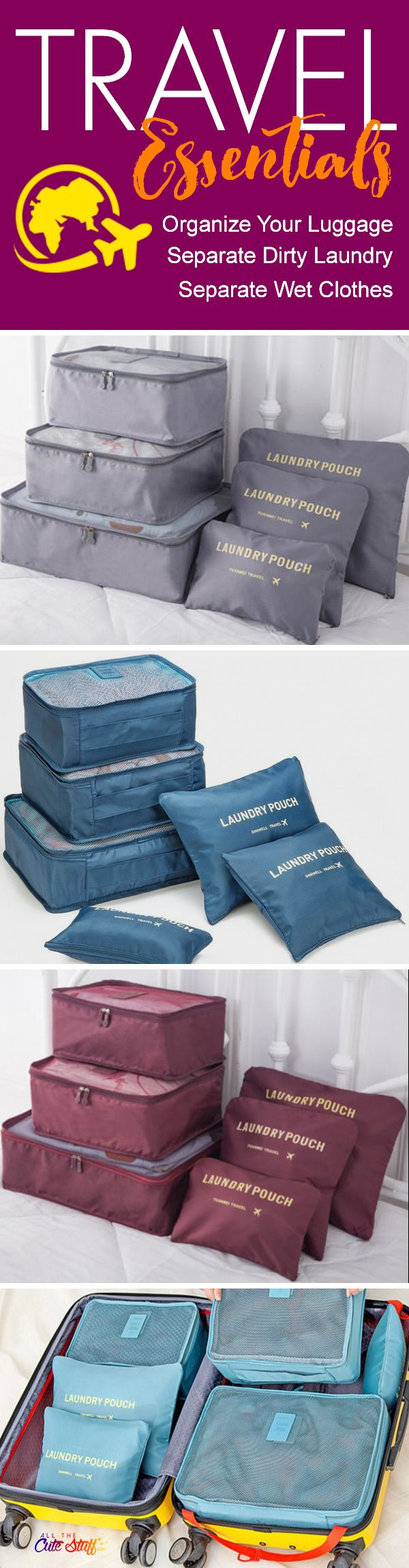Waterproof Travel Organizing and Packing Bags/Pouches - https://www.allthecutestuff.com/travelcubes  These super cute luggage organizer bags are a travel essential.  Create more space in your suitcases, separate dirty laundry and keep wet stuff separate with these high-quality, waterproof travel bags.
