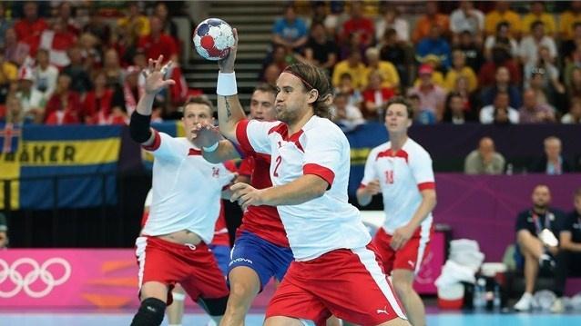 Thomas Mogensen of Denmark drives to the goal. #Olympics Olympics.
