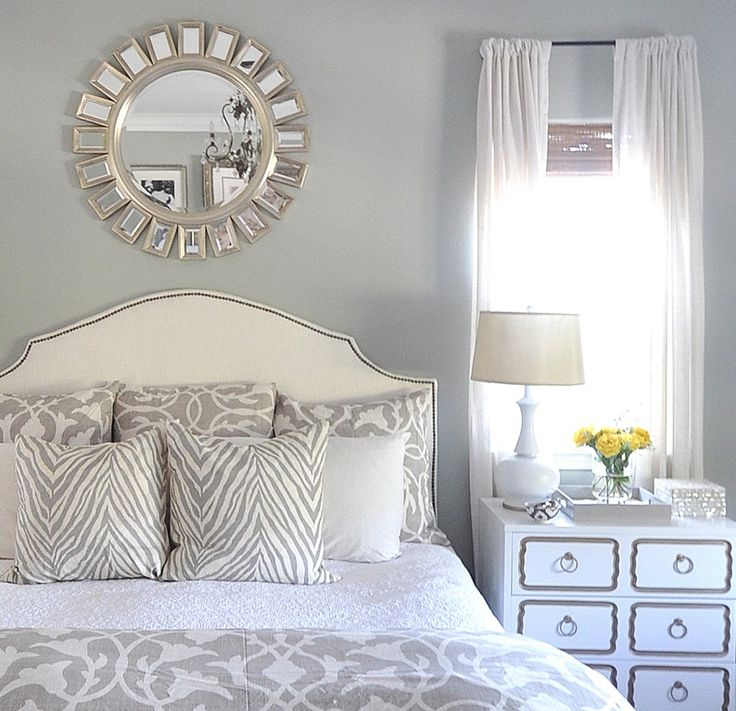 DIY nail trim headboard.  I'm in love with all of it! I want that bed spread too!