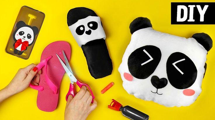 DIYs de Panda  Ideias Fofas: Pantufa, Capinha de Celular e Almofada
