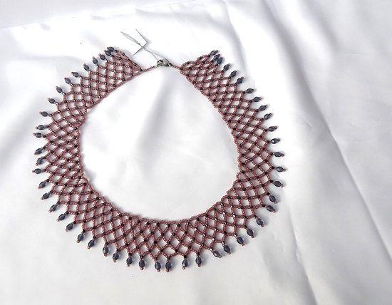 FREE SHIPPING Purple collar necklace folk motifs by Mamyblue, $40.00