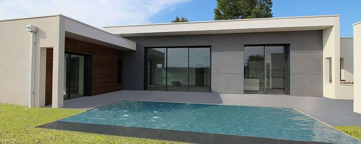 Maison contemporaine d'architecte béton bois composite à Albi