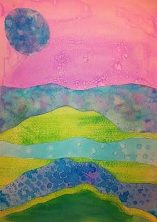 Angela Anderson Art Blog: Watercolor Technique Landscapes - Kids Art Class