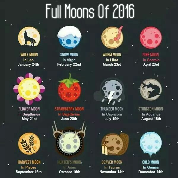 Full moons 2016. Dates may vary slightly by time zone.