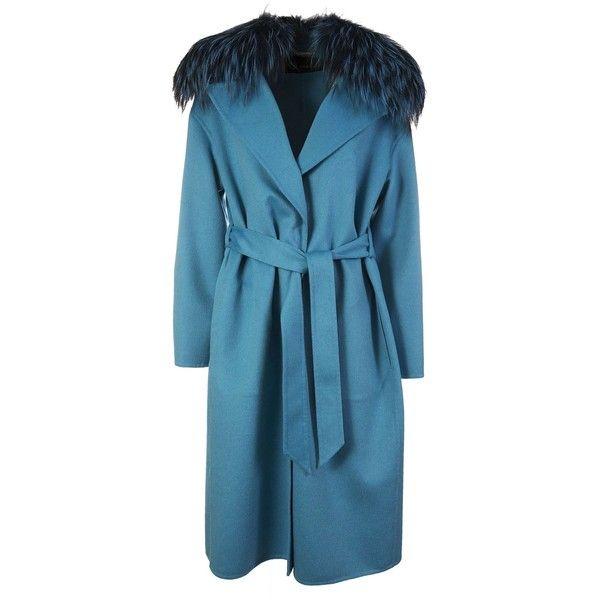 Fur Trim Coat (221.780 RUB) ❤ liked on Polyvore featuring outerwear, coats, blu, blue wool coat, blue coat, fur-collar wool coats, versace and versace coat