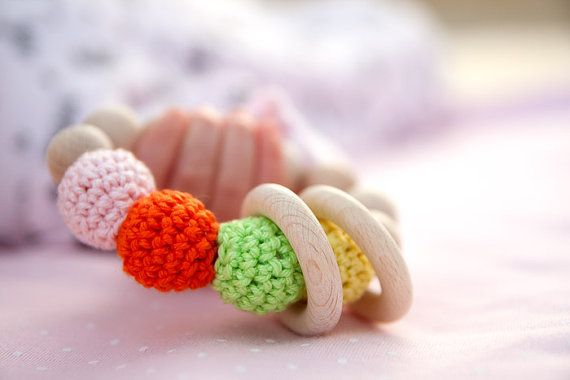 Soft and sweet candy toy. Teething ring toy with by wooden beads by nihamaj #toys, #teether,#baby,#woodentoy,