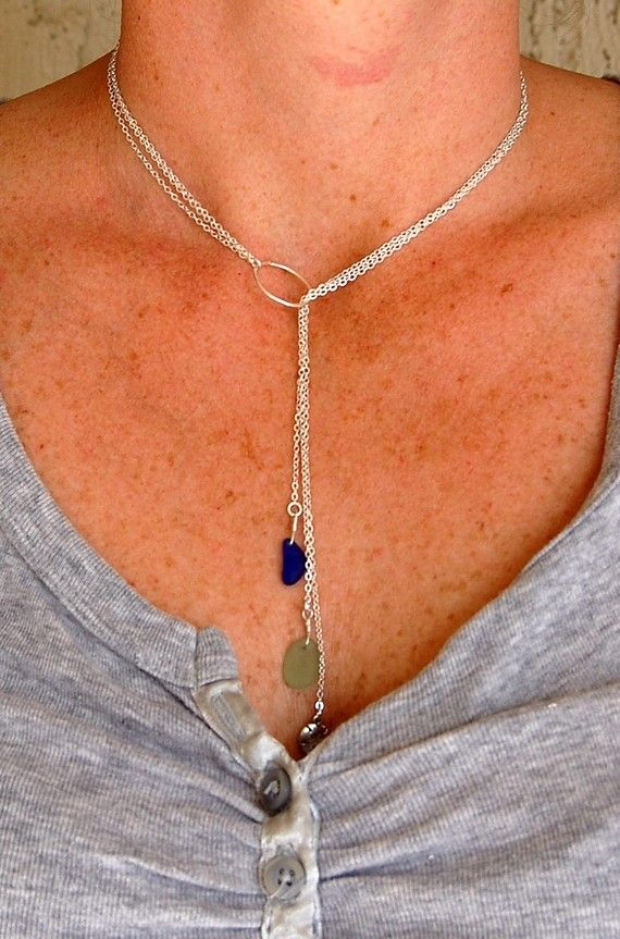 MultiStrand Sea Glass Lariat Necklace by ohanabylea on Etsy, $44.00