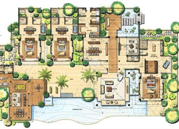 Cliff view site plan google search architecture pinterest villa plan site plans and villas for Indian villa designs floor plan layout