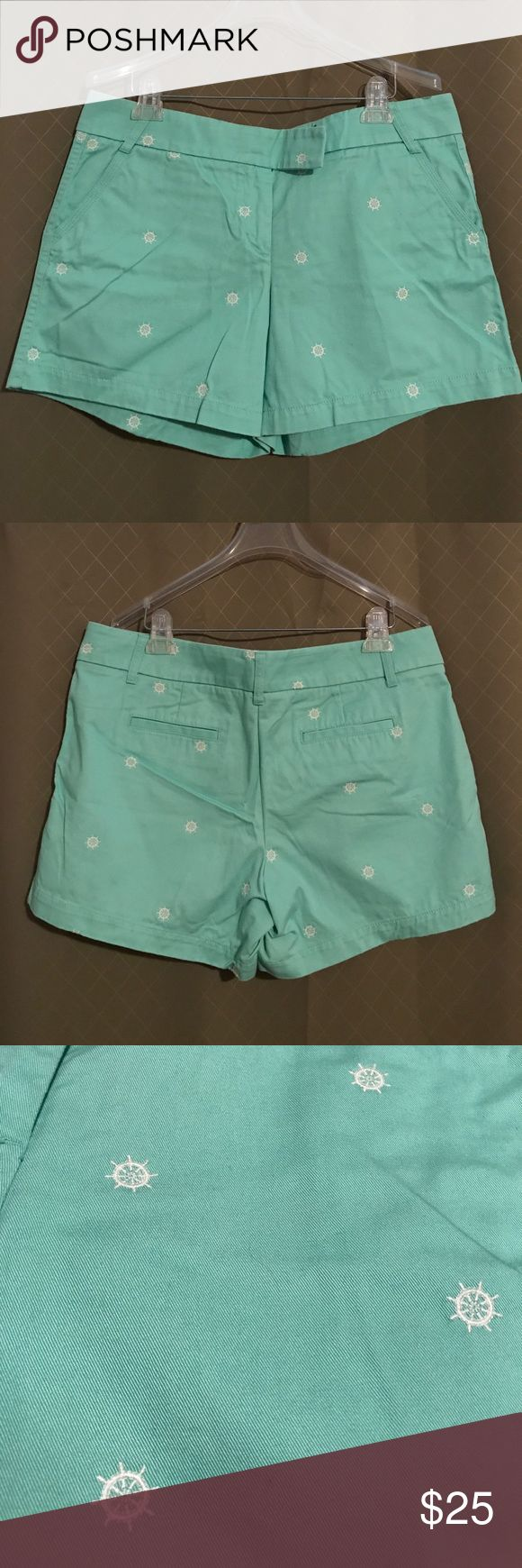 J. Crew Factory Seafoam Green Shorts Worn over 1 summer, still in very good condition, pilling in the crotch area (as pictured). 100% Cotton Broken-In Chinos with embroidered boat steering wheels. Inseam measures about 5 inches and the length is about 14 inches. J. Crew Factory Shorts