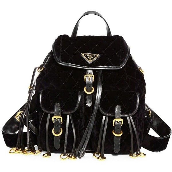 Prada Quilted Velvet Mini Backpack ($1,970) ❤ liked on Polyvore featuring bags, backpacks, prada backpack, fringe backpack, day pack backpack, logo backpack and mini velvet backpack