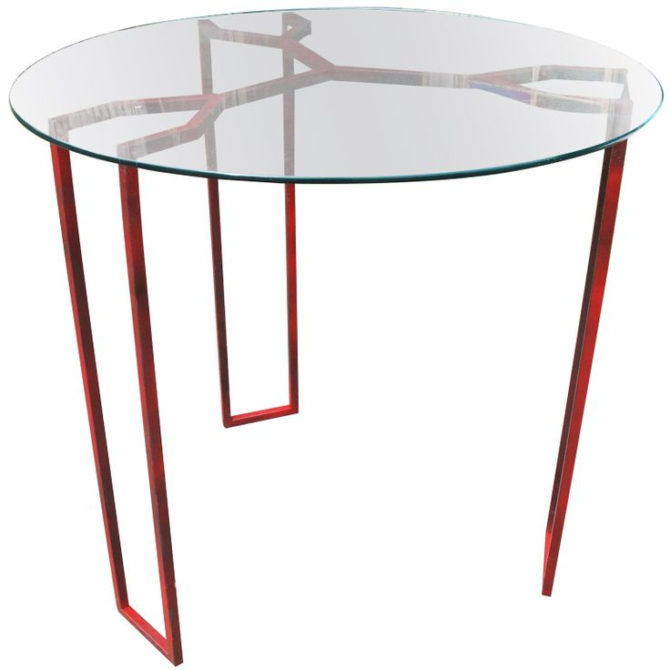 Jean Royere Steel and Glass Circular Table  France  C1955  A significant Royere table of red square section steel with circular glass top with polished edge