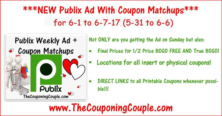 Here is the Publix Ad with coupon matchups for 6-1 to 6-7-17 (5-31 to 6-6 for those whose ad begins on Wed). Enjoy!  Click the link below to get all of the details ► http://www.thecouponingcouple.com/publix-ad-with-coupon-matchups-for-6-1-to-6-7-17-5-31-to-6-6/ #Coupons #Couponing #CouponCommunity  Visit us at http://www.thecouponingcouple.com for more great posts!