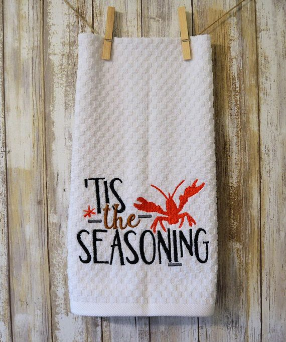 Embroidered Kitchen Towel Crawfish Tis The Season Kitchen