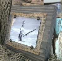 Create your own inexpensive wall art. Use scrap wood and burlap to create a simple, rustic photo frame. Easy scrap wood and burlap picture frame.