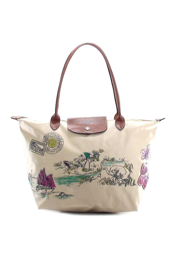 Longchamp Medium Long Handle Autour de Ha Long Bag (Rice)
