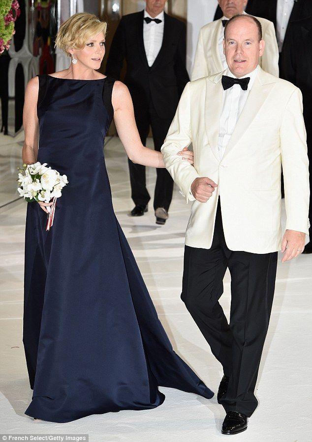 The couple didn't leave each other's side as they spent time at the ball  Princess Charlene of Monaco, 36 and Prince Albert II, 56 of Monaco.  August 1, 2014