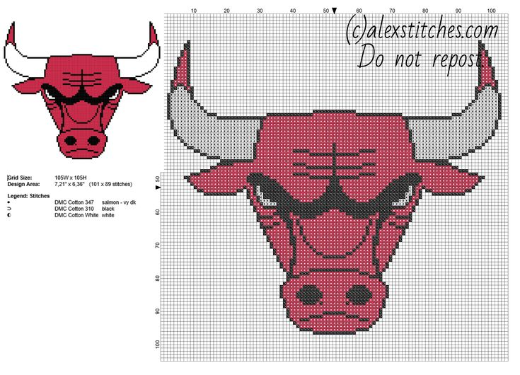 Chicago Bulls team logo NBA National Basketball Association free cross stitch pattern