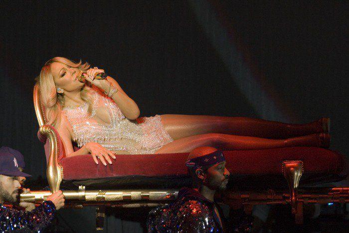 Mariah Carey live glasgow performance sparkling leotard