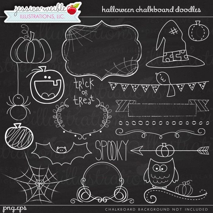 Halloween Chalkboard Doodles Digital Clipart - JW Illustrations