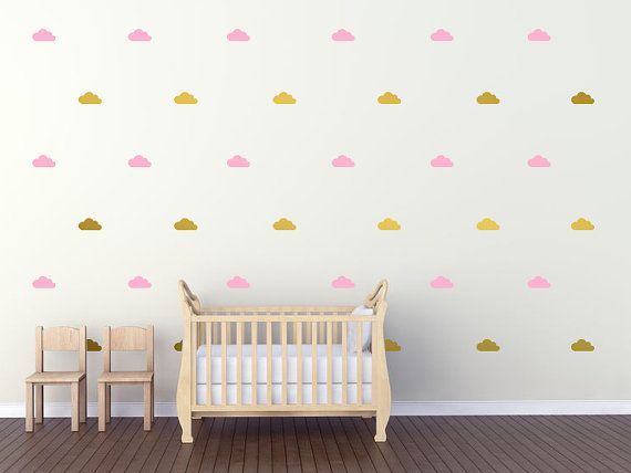 Cloud Wall Decal / Cloud Decal / Gold Wall By OhongsDesignStudio