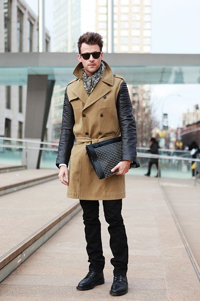 Brad Goreski in a Burberry trench with Louboutin case