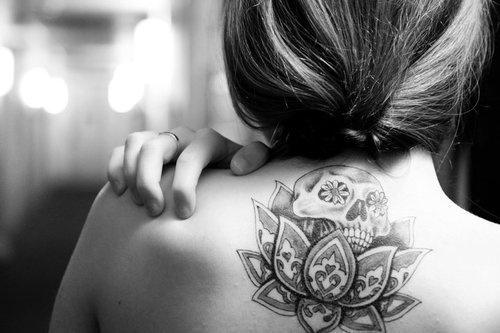 Sugar Skull In A Lotus Flower Tattoo Skeleton Tattoos