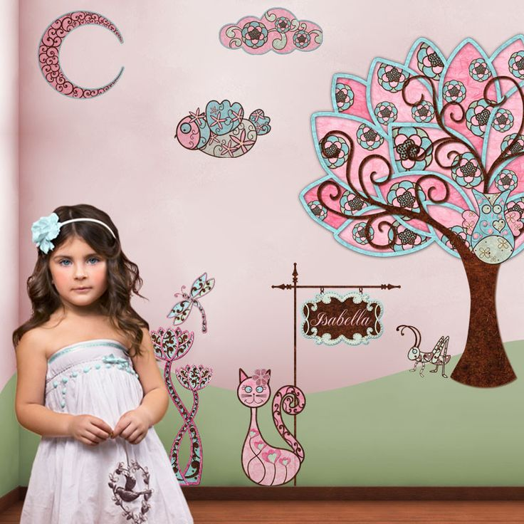 Owl Wall Sticker Decals for Creating Owl Mural in Girls Room
