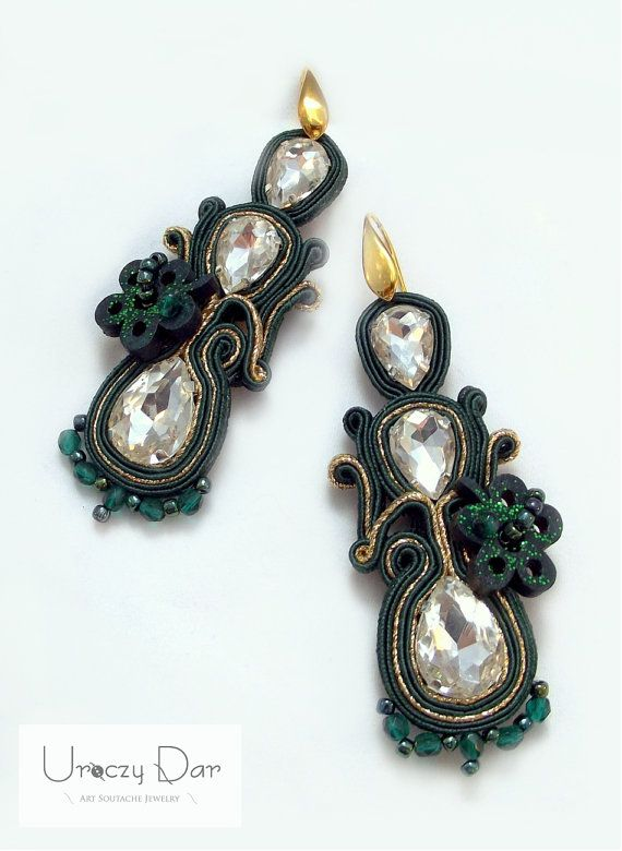 Green soutache earrings with crystals