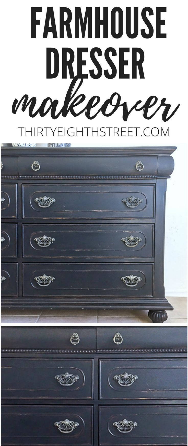 How To Paint and Distress Old Furniture. Painting Furniture To Create Farmhouse Style and Decor. Black Painted Dresser. Painting Furniture Ideas. Chalk Painted Furniture Ideas. Before and After Furniture. How To Distress Furniture Without ANY Sandpaper. #farmhouse #painteddresser #dressermakeover #blackfurniture #chalkpainted