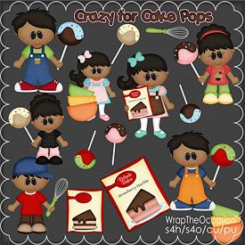 Exclusive Commercial Use Clipart  - Cake Pop Kids