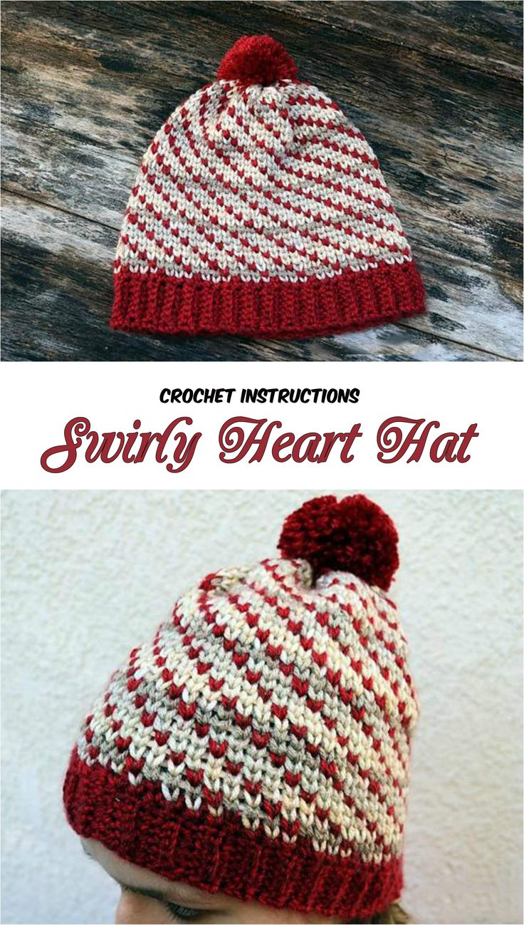Crochet Swirly Heart Hat