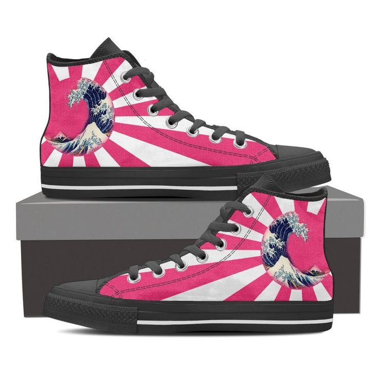 """Women's High Top Sneakers featuring Hokusai's """"Great Wave Off Kanagawa"""" in a Rising Sun. Available in Red & Pink Colourway  Price: $69.95 Visit link to purchase"""